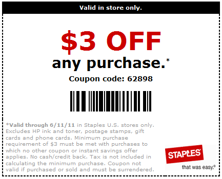 Hot 3 Off Any Purchase At Staples Coupon