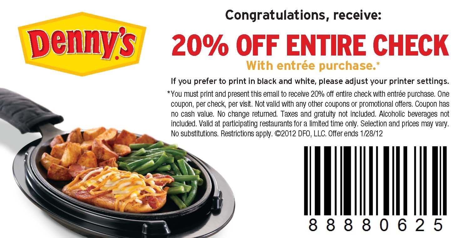 Denny\'s: 20% Off Entire Purchase Coupon Valid Through 1/28!