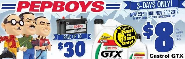 Pep Boys Black Friday Deals 2012: Oil, Car Parts and More!