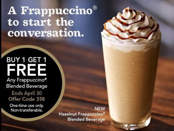starbucks coupon buy one get one free frappuccinos